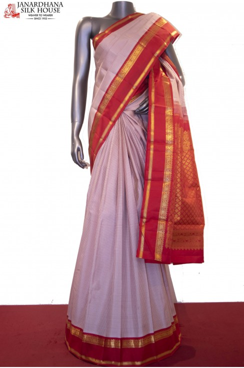 Exclusive Contrast & Mini Checks Classic Kanjeevaram Silk Saree