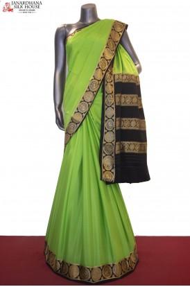 Classic & Contrast Traditional Pure Mysore Crepe Silk Saree