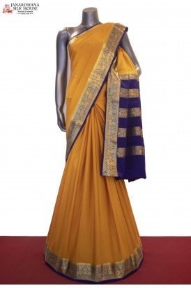Classic & Contrast Traditional Pure Mysore Crepe Silk Saree