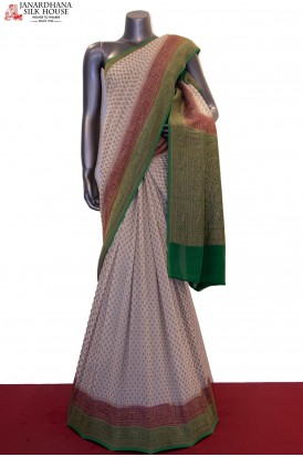 Designer & Exclusive Double Contrast Handloom Banarasi Georgette Silk Saree