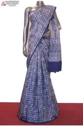 Exquisite Prints & Checks Pure Printed Silk Saree
