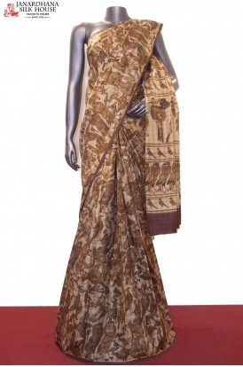 AF211645-Exquisite Prints & Checks Pure Printed Silk Saree