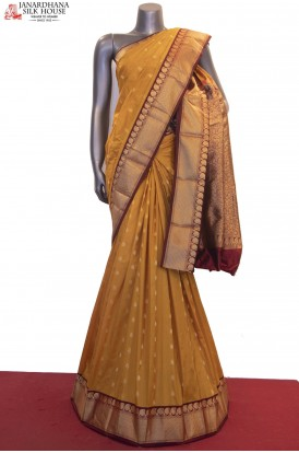 Grand Contrast & Zari Butta Wedding Pure South Silk Saree