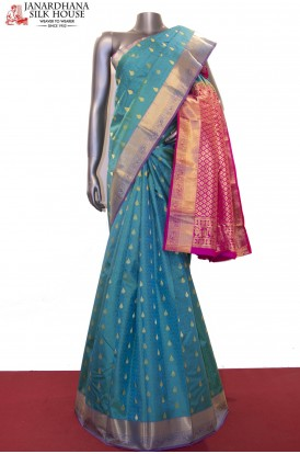 Zari Buttas Classic & Contrast Pure South Silk Saree