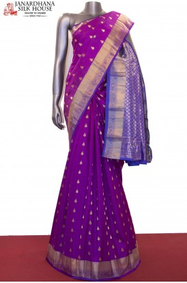 Zari Butta Classic & Contrast Pure South Silk Saree