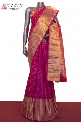 AF211781-Grand Zari Checks & Exclusive Wedding Kanjeevaram Silk Saree