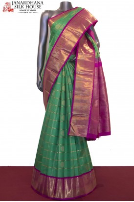 Peacock Chakram & Zari Checks Grand Wedding Kanjeevaram Silk Saree