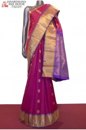 Peacock Chakram & Zari Checks Wedding Kanjeevaram Silk Saree