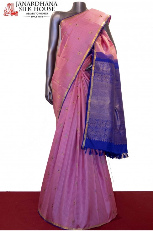 Designer & Exclusive Zari Checks Meenakari Kanjeevaram Silk Saree