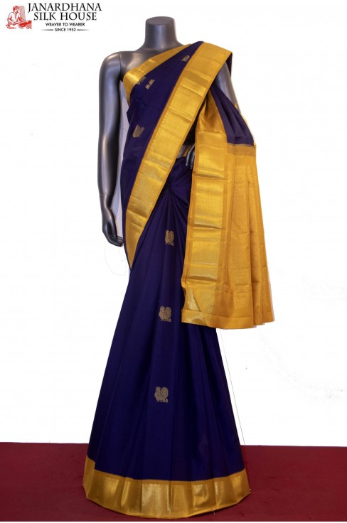 Contrast & Classic Zari Butta Wedding Kanjeevaram Silk Saree