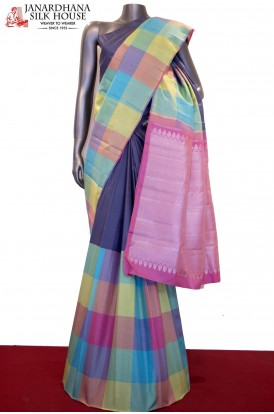 Half & Half Colorful Checks,Silver Zari Handloom Kanjeevaram Silk Saree