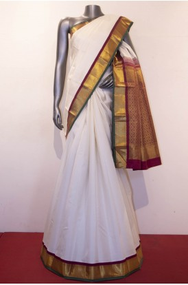Contrast & Traditional Kanjeevaram Silk Saree