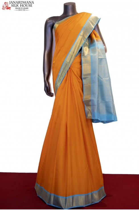 Contrast & Classic Handloom Wedding Kanjeevaram Silk Saree