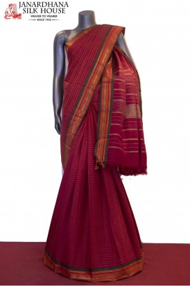 Checks & Classic Handloom Kanjeevaram Silk Saree