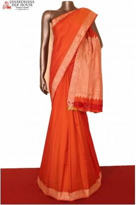 Orange Wedding South Silk Saree