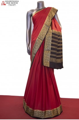 Exclusive Jungle Zari Contrast & Traditional Pure Mysore Crepe Silk Saree