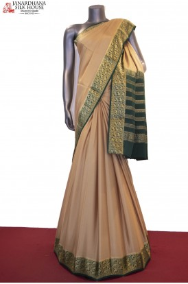 AF212272-Exclusive Jungle Zari Contrast & Traditional Pure Mysore Crepe Silk Saree