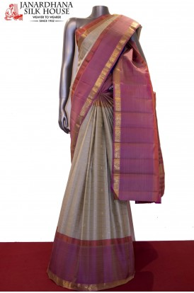 Zari Checks Zari Butta Handloom  Kanjeevaram Silk Saree