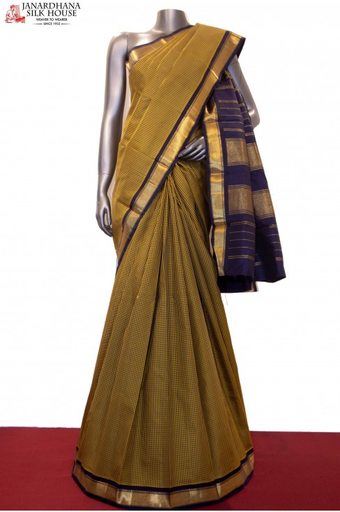 Checks & Classic Contrast Kanjeevaram Silk Saree