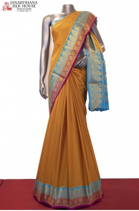 Double Contrast Traditional Pure Mysore Crepe Silk Saree