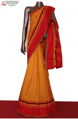 Temple & Contrast Pure South Silk Saree