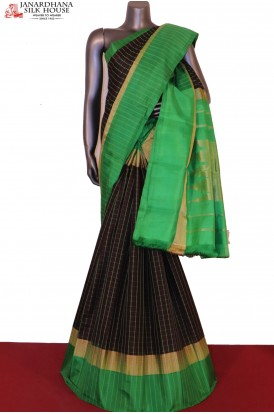 AG200180-Checks & Contrast Pure Soft Silk Saree