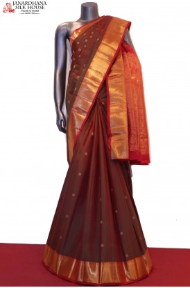 Polka & Peacock Contrast Wedding Classic Kanjeevaram Silk Saree