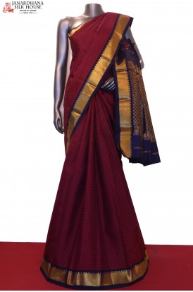 Checks & Contrast Traditional Kanjeevaram Silk Saree
