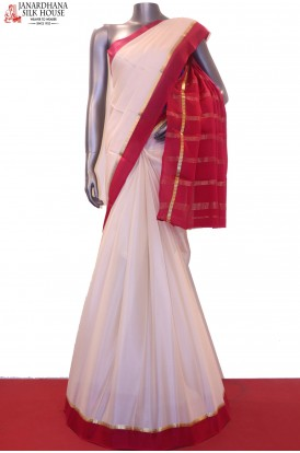 Contrast Pure Mysore Crepe Silk Saree-Without Blouse
