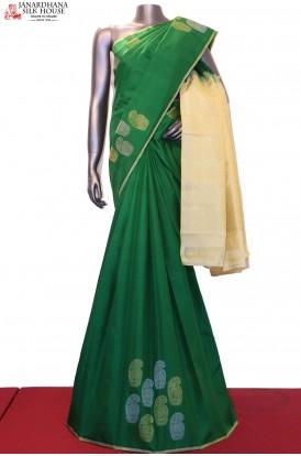 Designer Gold Silver & Contrast Kanjeevaram Silk Saree