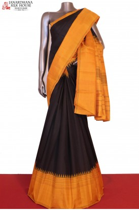 Temple & Contrast Thread Weave Kanjeevaram Silk Saree