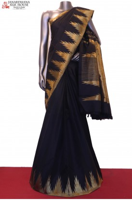 AG200440-Black & Temple Traditional Kanjeevaram Silk Saree