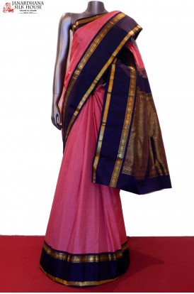 Exclusive Checks & Contrast Traditional Kanjeevaram Silk Saree