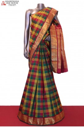 AG200525-Multi Checks & Contrast Wedding Kanjeevaram Silk Saree