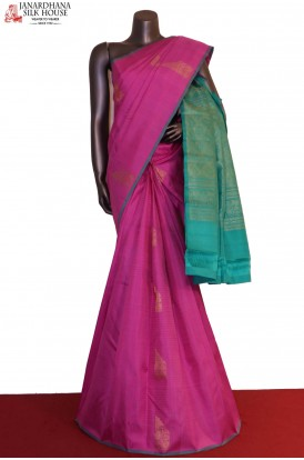 AG200637-Checks & Contrast Kanjeevaram Silk Saree