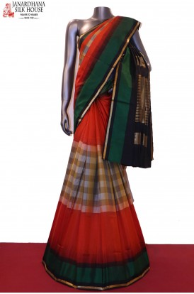AG200739-Checks & Exclusive Handloom Pure Soft Silk Saree