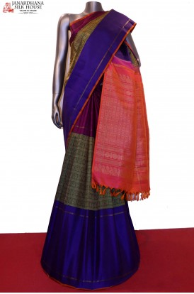 Exquiste & Master Weave Ganga Jamuna Wedding Kanjeevaram Silk Saree