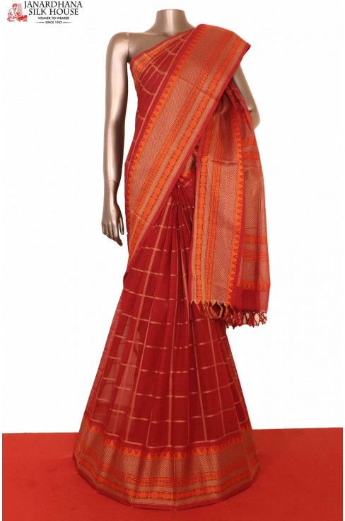 Red Checks Pure Village Cotton Saree