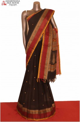 Black Exclusive Pure Village Cotton Saree