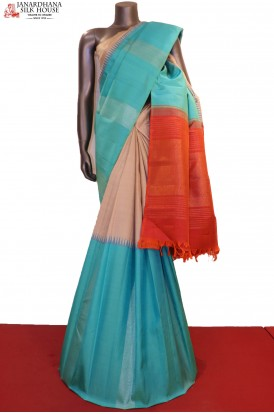 Gold Silver Exclusive Half Half Kanjeevaram Silk Saree