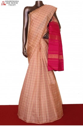 AG201392-Checks & Contrast Traditional Kanjeevaram Silk Saree