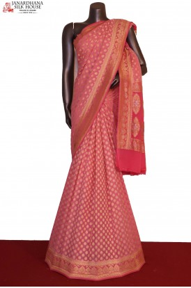Exclusive  Gold Silver & Grand Banarasi Georgette Silk Saree