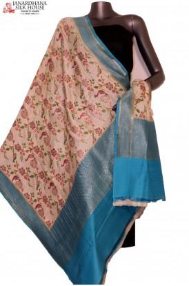 AG201634-Exquisite & Designer Finest Quality Handloom Pure Tussar Silk Dupatta