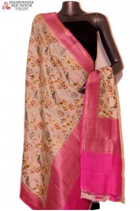 AG201635-Exquisite & Designer Finest Quality Handloom Pure Tussar Silk Dupatta