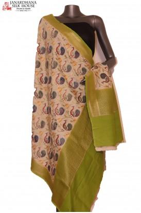 AG201636-Exquisite & Designer Finest Quality Handloom Pure Tussar Silk Dupatta