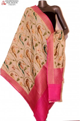 AG201640-Exquisite & Designer Finest Quality Handloom Pure Tussar Silk Dupatta