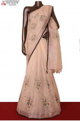 Exclusive Embroidery Pure Linen Saree