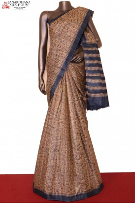 AG202010-Exclusive Printed Pure Tussar Silk Saree