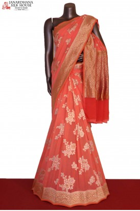 Designer Floral Brush Paint Banarasi Georgette Silk Saree