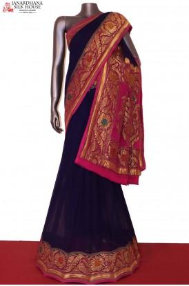 AG202445-Designer & Grand Meenakari Banarasi Georgette Silk Saree